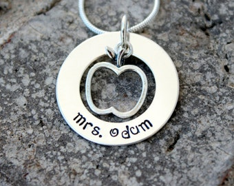 Hand Stamped Necklace - Personalized Necklace - Hand Stamped Teacher's Pendant - Teachers Gift - Teaching Gift - Teachers