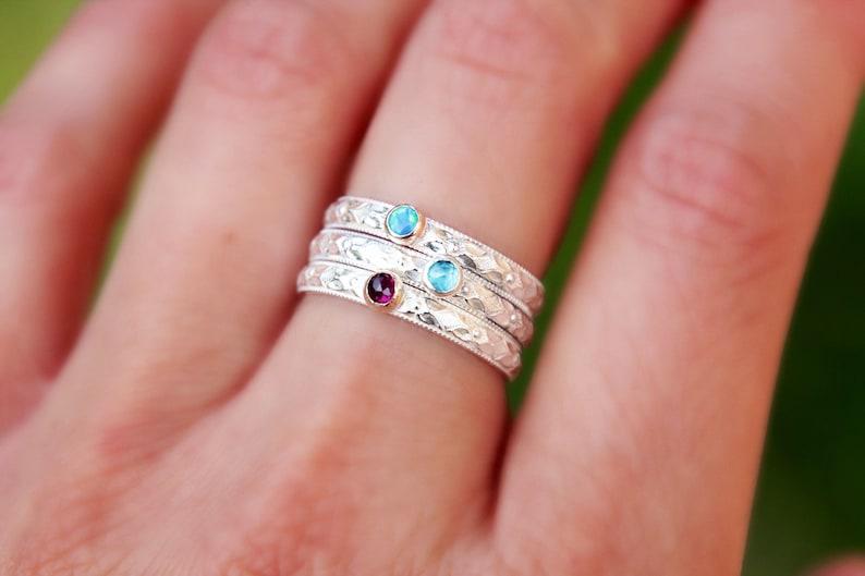 FLORAL GEMSTONE STACKING Ring  gemstone ring  opal ring  image 0
