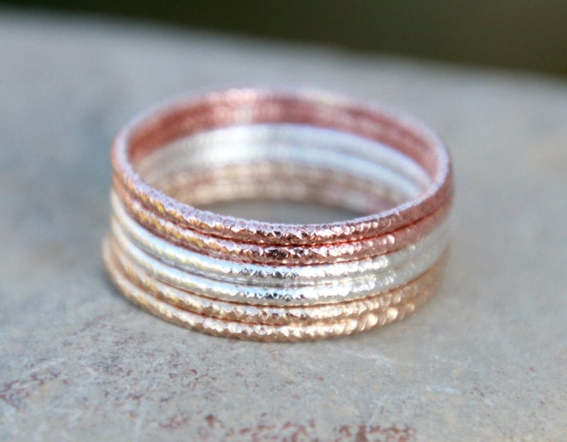 Thin Stacking Ring  GLITTER STACKING RINGS  Faceted Rings  image 0