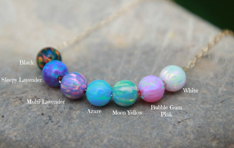 OPAL BEAD NECKLACE  October jewelry  opal necklace  tiny image 0