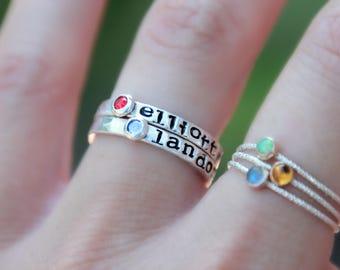 Hand Stamped Birthstone Ring - birthstone ring  - stacking birthstone - Mother's Ring - Kids name ring - Birthstone Ring - Name Ring
