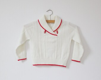 Vintage Cream and Red Toggle Sweater (4T)