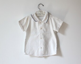 Vintage White and Blue Collared Shirt (child size 5-6)