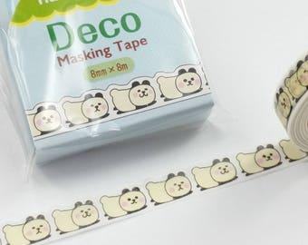 Lovely Panda Nami-Nami Die Cut Washi Masking Tape (8mm X 8M)