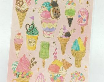 Ice Cream Dessert Gold Deco Sticker (1 Sheet)