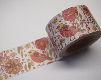 Flower and Bird Washi Tape (30mm X 10M)