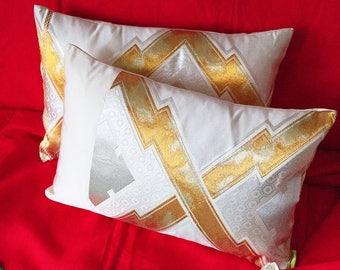 """Cream Silk Obi Cushion, Gold Silver Kimono Pillow, Metallic Accent Pillow, Upcycled Japanese Obi 12x18"""" Rectangular Ltd Ed ECO FRIENDLY Rare"""