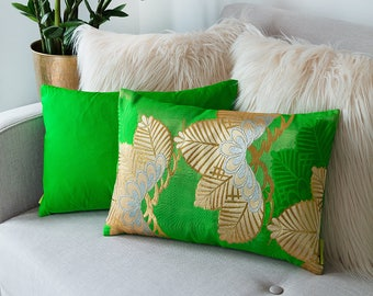 Couch Pillow, Designer Pillow, Boho Pillow, Japanese Kimono Silk, Asian Cushion, Green Gold Embroidered Cushion, Vintage Green Accent Pillow