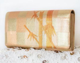 Gold Bamboo Clutch Bag, Evening Clutch, Wedding Clutch, Bridesmaid Clutch Purse, Vintage Kimono Silk Handbag, Hollywood Regency, Orange Bag