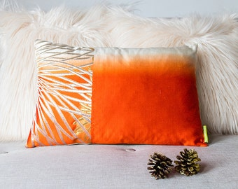 Ombre pillow, Orange dip-dye cushion, vintage japanese silk, gilt thread kiku floral design, gold silver upcycled obi, ltd ed accent throw