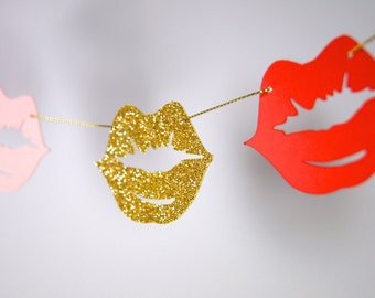 Lips Paper Garland, Make up Themed Bridal Shower