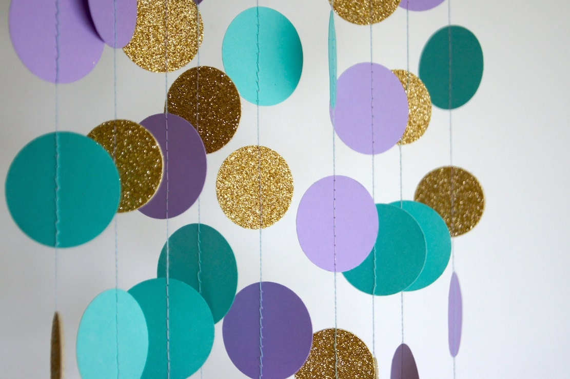 Mermaid Party Decorations Paper Garland In Lavender Teal And