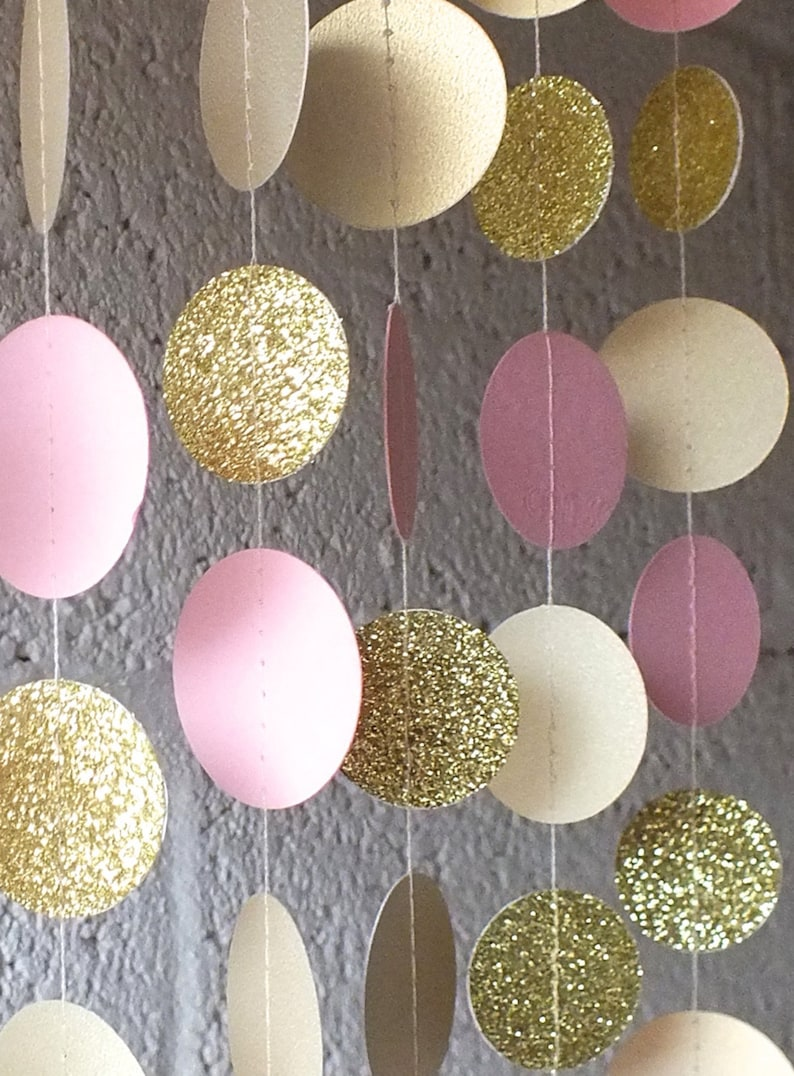 Garland in Cream Blush and Gold Double-Sided Bridal Shower image 1