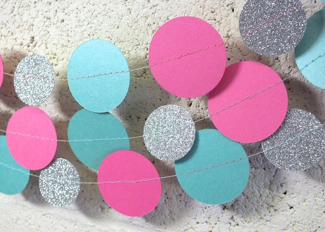 Garland In Teal Hot Pink And Glitter Silver Double Sided Bridal