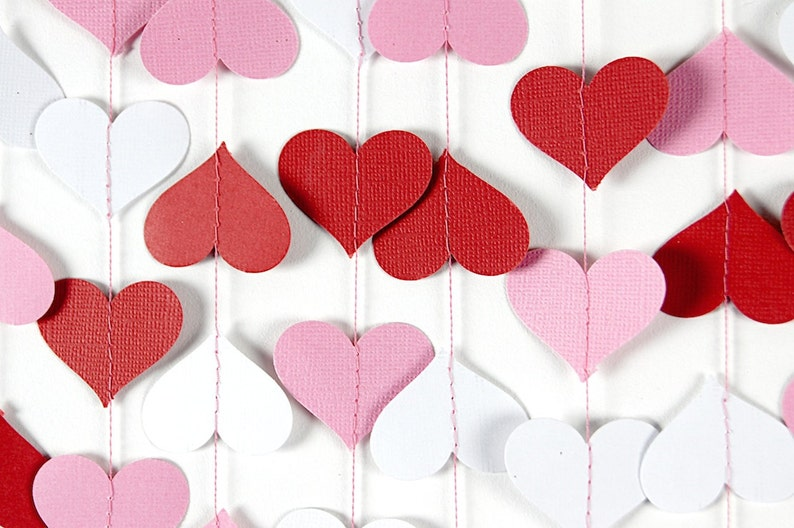 e884d8071539 Valentines Day Decor Red Pink White Hearts Garland