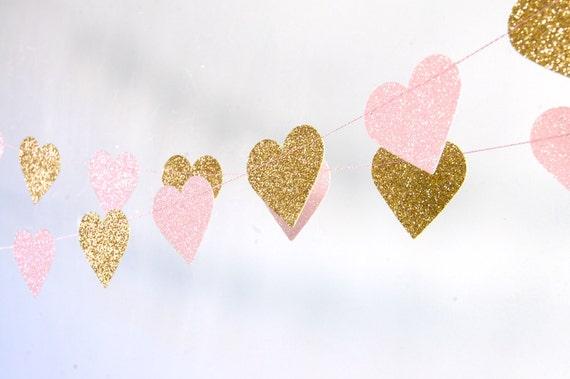 Herz Girlande Glitter Papier Girlande Gold und rosa Gold | Etsy