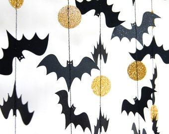 Halloween Garland, Bat Garland, Paper Garland in Black and Gold