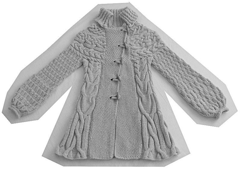 2b73b760fa4156 Knitting Pattern  Minimissimi Sweater Coat pattern PDF