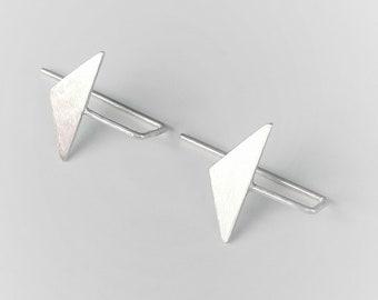Small Triangle Dangle Earrings Drop Minimalist Geometric Earrings Silver 925 Everyday Earrings Dainty Dangle Earrings Modern Earrings 2018