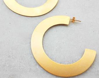 Statement Large Hoop Earrings Summer Sale 24K Gold Plated Earrings Geometric Earrings Brass Earrings Thick Hoop Earrings Modern Hoops 2018