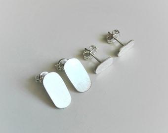 Set Of Two Pairs Oval Silver Stud Earrings Minimalist Geometric Stud Earrings Silver 925 Everyday Earrings Gift For Her Modern Earrings Sale
