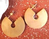 Summer Fashion Clean Design Geometric Earrings 24K Gold Plated Bold Hoop Earrings Jewelry Gift For Her Minimalist Earrings Brass Jewelry