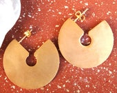 Gold Statement Geometric Earrings Spring 2019 24K Gold Plated Bold Hoop Earrings Jewelry Gift For Her Minimalist Earrings Brass Jewelry