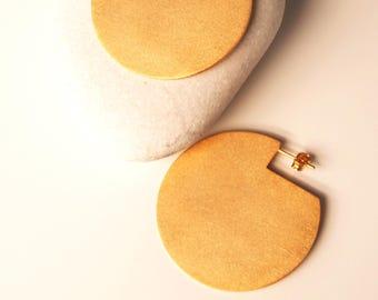 Summer Sale Statement Disc Earrings Geometric Circle Earrings 24K Gold Plated Modern Stud Earrings Brass Jewelry Minimalist Bold Earrings