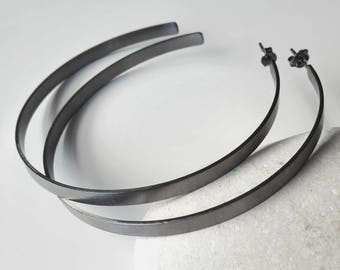 Black Hoop Earrings Summer Sale Brass Jewelry Minimalist Hoop Earrings Modern Geometric Earrings Open Bold Hoop Earrings Spring Summer 2018