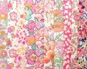 10 Liberty Tana Lawn fabric PIECES - each minimum 5 39 39 x 5 39 39 - PEACHY PINKS