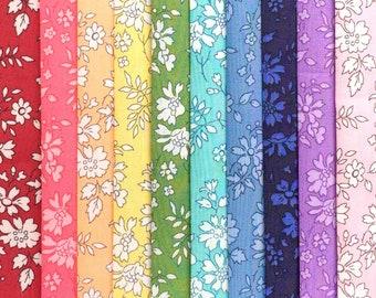 "each minimum 5/"" x 5/"" *NIGHTFALL #2* 8 Liberty Print Tana Lawn pieces"