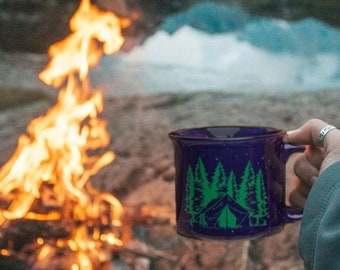 Camping Mug - Camp Fire Mug - Ceramic Mountain Mug - Camping Coffee Cup