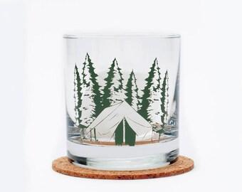 Camping Rocks Glass - Highball Glass - Camp - Tumbler - Whiskey Glass - Woods