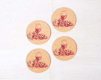 Cork Coasters - Set of Four - Wine Coaster - Four Eco-Friendly Gift - Housewarming Gift - Wine Glass - Gift for Her - Gift for Him