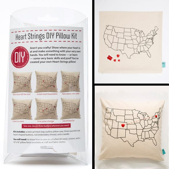 Diy do it yourself pillow kit heart strings usa map solutioingenieria Gallery