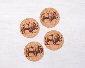 Bison Cork Coasters - Set Of Four