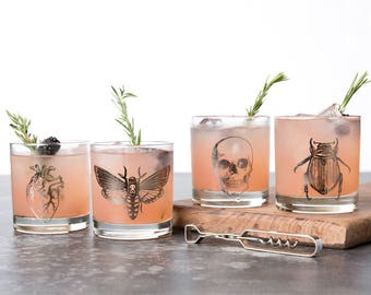 Halloween Glasses - Macabre 11oz. Glass Set - Anatomical Heart - Halloween - Skull - Scarab Beetle - Death Head Moth - Metallic Foil - Goth