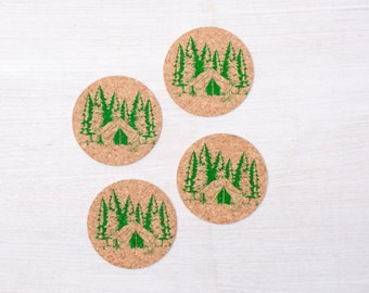 Camping Cork Coasters - Set Of Four - Love of the Outdoors