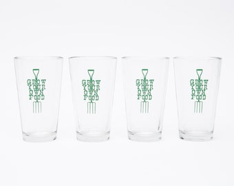 Grow Your Own Food - Set of Four Pints - Garden Lovers Glass