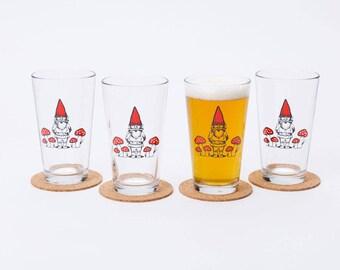 Garden Gnome Pint Glasses, Set of Four