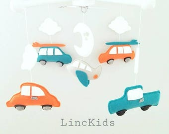 Baby Crib Mobile-Cars Airplane Mobile-custom Made Mobile-Transportation Mobile- retro rides mandarin fabric inspired