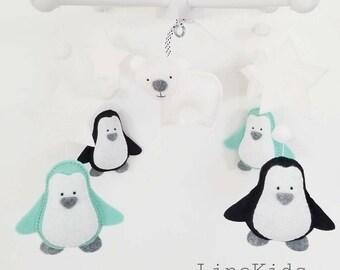 Baby Crib Mobile-Penguins Mobile No10-Polar Bear Mobile-Artic/Antartic Crib Mobile-Turquoise and gray Mobile