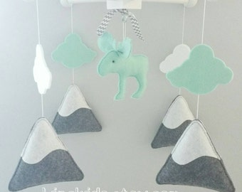 Baby Crib Mobile-Moose Mobile-Artic/Antartic mountain Crib Mobile-Northern lights moose artic mobile mint and grey