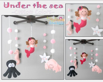 Baby Crib Mobile-Sea Animals Mobile-custom Made Mobile-Little Mermaid Mobile