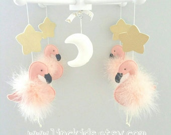 Baby Crib Mobile-Flamingos baby mobile- Flamingo Mobile-coral pink flamingos custom Made Mobile