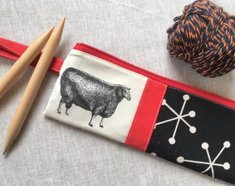 Linen Patchwork Knitting Needle Case, Wristlet