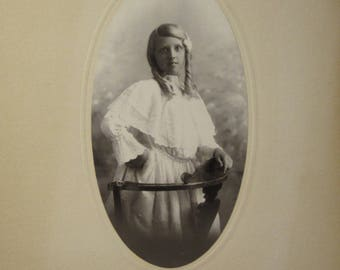 1900 Cabinet Card Young Girl Portrait from Coules Palace Studio LA CA