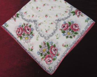 VTG 1950's White Cotton, Floral Printed, Ladies Handkerchief - Fine