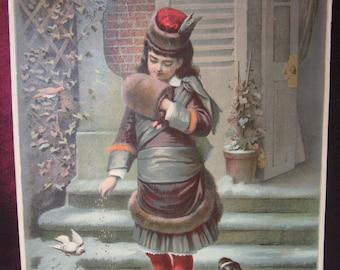 """Antique 1879 Victoria Chromograpic Print """"Winter Pets"""" H. Hallett & Co -"""