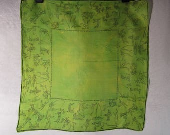 VTG 1940's Lime Green Scarf with Sport Activities Printed on Silk - Fun